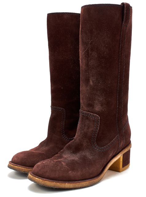 CHANEL Brown Suede Blue Contrast Stitch Mid Calf Round Toe Tall Boots