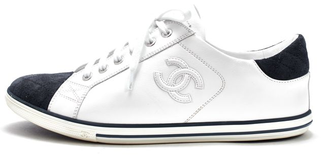 CHANEL White Leather Navy Blue Quilted Suede Cap Toe Sneakers