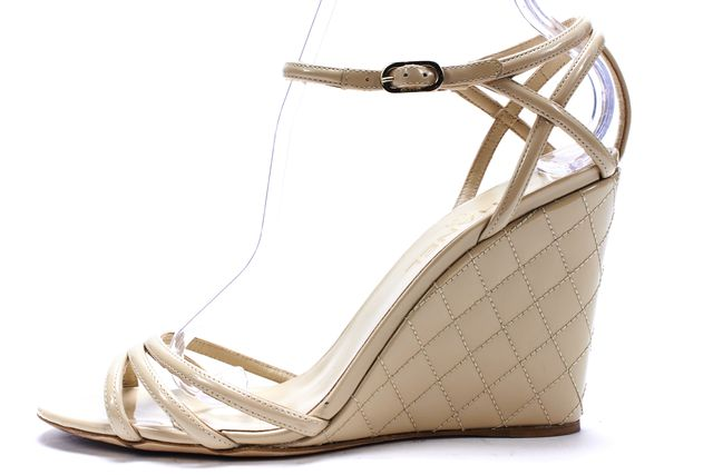 CHANEL Beige Quilted Patent Leather Ankle Strap Wedges Sandals