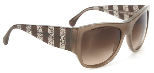 CHANEL Brown Oval Oversized Acetate Frame Lace Detailed Sunglasses w Case