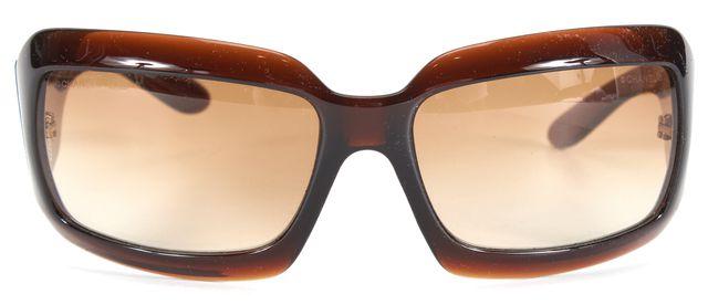 CHANEL Brown Acetate Beige Lens Rectangle Sunglasses