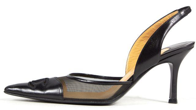 CHANEL Black Leather Mesh Combo CC Logo Sling Back Pump Heels