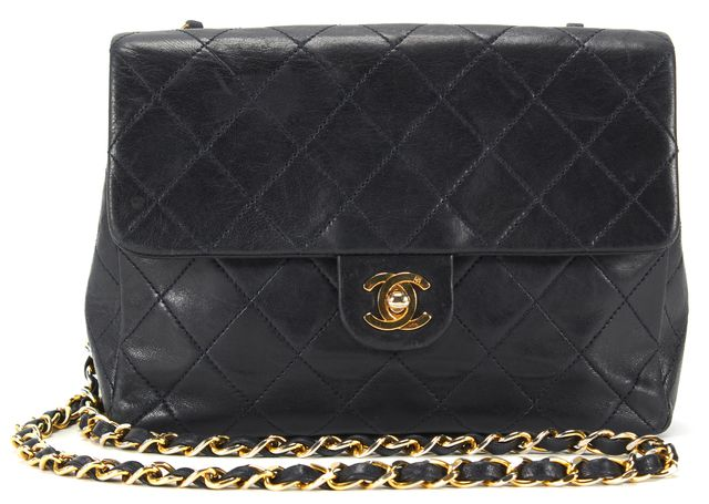 CHANEL Dark Navy Leather Vintage Classic Flap Crossbody Bag