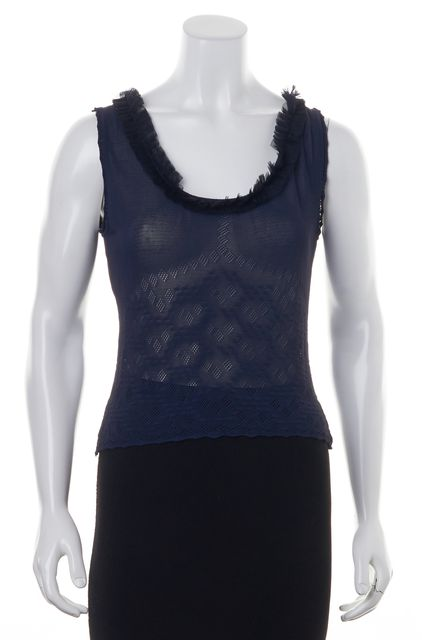 CHANEL '02 Cruise Blue Sheer Embroidered Mesh Sleeveless Blouse Top