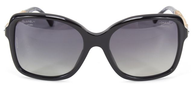 CHANEL Black Acetate Square Crystal Embellished Polarized Butterfly Sunglasses