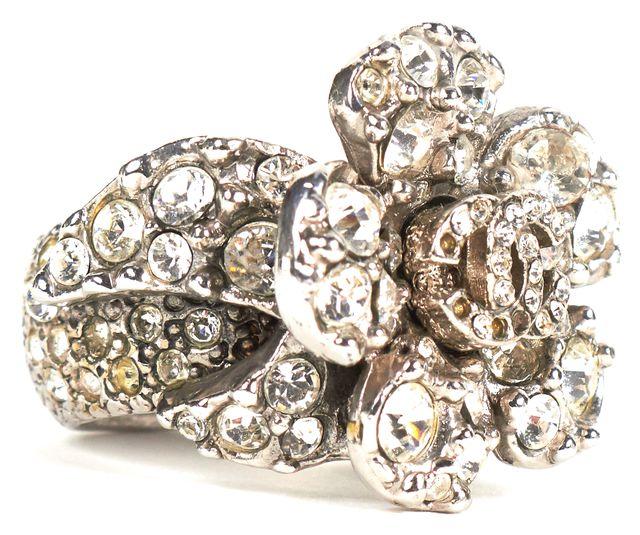 CHANEL Silver Crystal Embellished Flower Ring