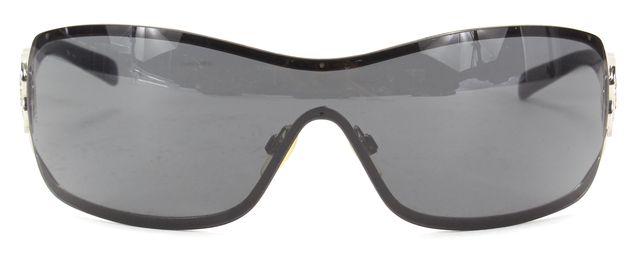 CHANEL Black Rectangular Crystal Floral CC Embellished Sunglasses