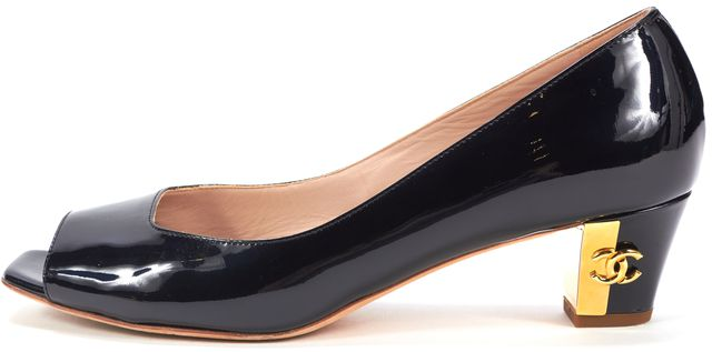 CHANEL Black Patent Leather Square Open Toe Low Pump Heels
