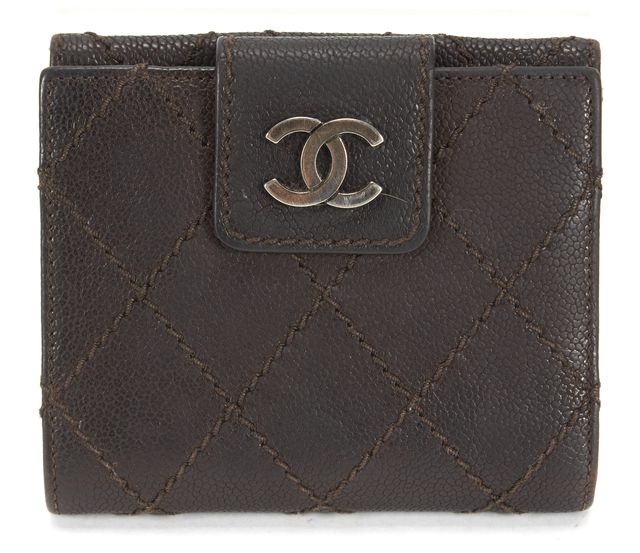 CHANEL Brown Pebbled Leather Silver Hardware Small Wallet