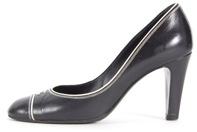 CHANEL Black Leather White Contrast Stitching Round Toe Pump Heels