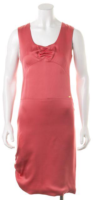 CHANEL '01 Autumn Pink Silk Ruched Hem & Bust Sleeveless Sheath Dress