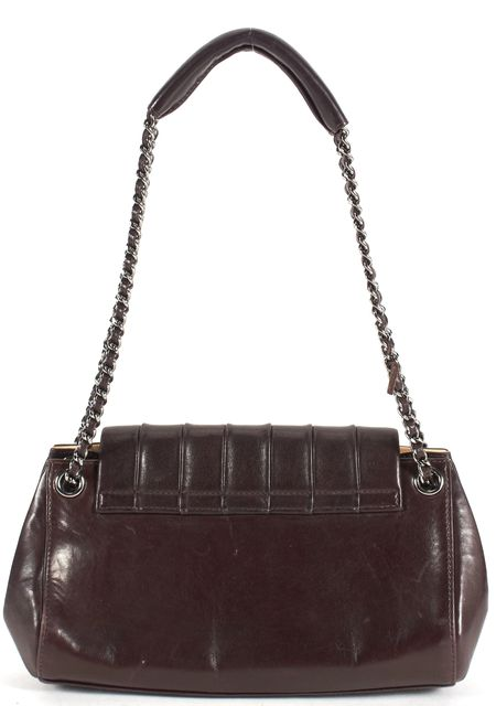 CHANEL Chocolate Leather Classic Chain Strap Accordion Shoulder Bag