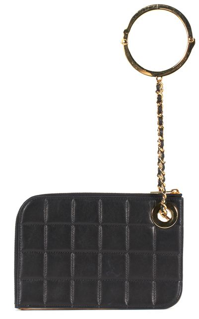 CHANEL Black Chocolate Bar Lambskin Leather Handcuff Wristlet Clutch