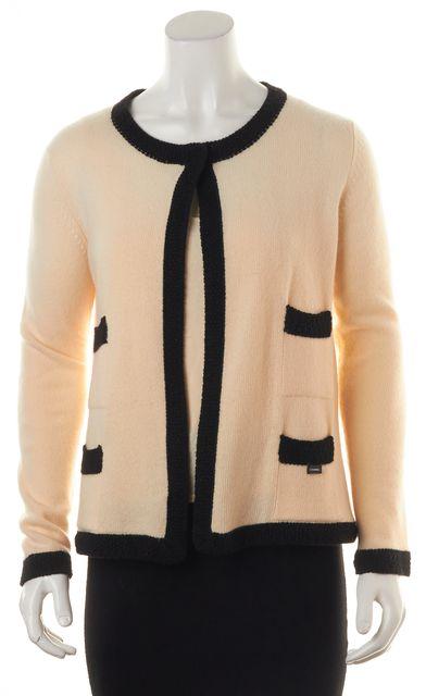 CHANEL Ivory Cardigan Cashmere Knit Tank Cardigan Set Size FR 42 US XL