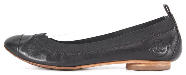 CHANEL Black Leather Elastic Logo Ballet Flats
