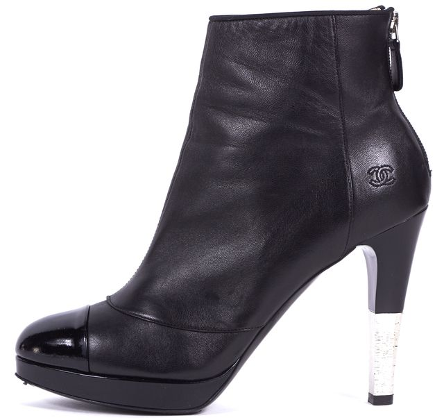 CHANEL Black Patent Leather Cap Toe Ankle Heel Boots
