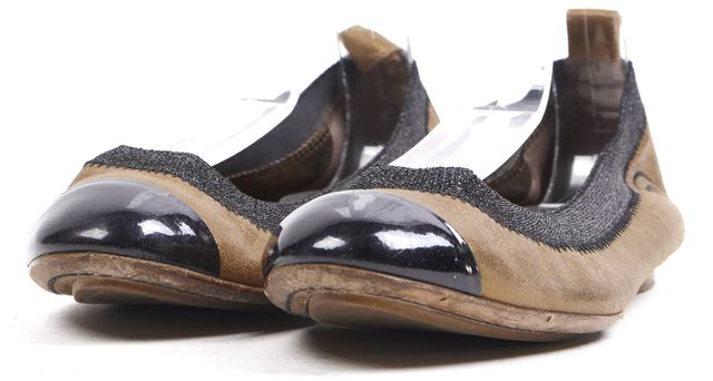 CHANEL Gold Black Leather Cap Toe Ballet Flats
