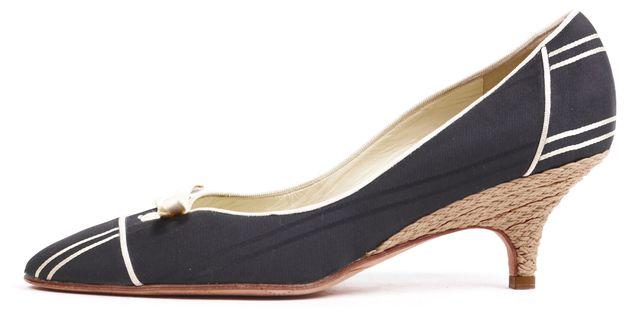 CHANEL Black Ivory Canvas Kitten Heels