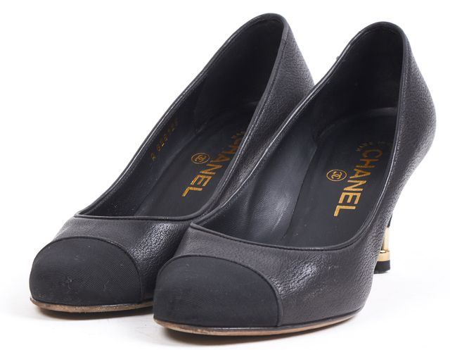 CHANEL Black Leather Round Satin Cap Toe Pump Heels