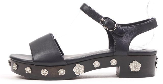 CHANEL /NWB Black Embellished Leather Mini Wooden Platform Sandals