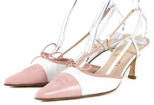 CHANEL White Pink Leather Pointed Toe Slingback Heels