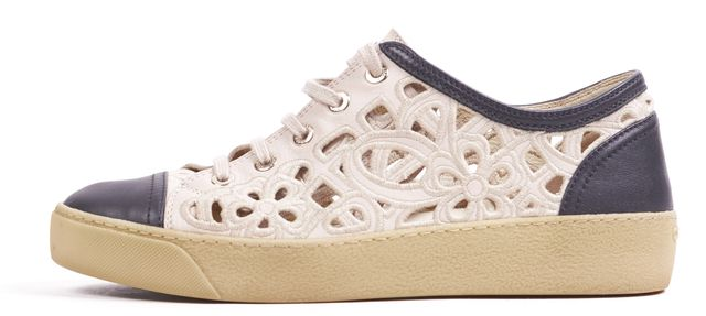 CHANEL Beige Black Leather Floral Laser Cut Sneakers