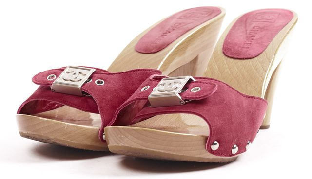 CHANEL Fuchsia Pink Suede Studded Wooden Heeled Mules
