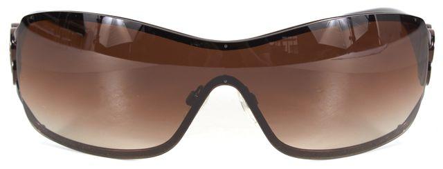 CHANEL Brown Metal Acetate Rectangular Gradient Sunglasses