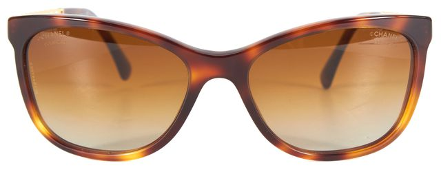 CHANEL Brown Tortoise Acetate Frame Chain Trim Gradient Polarized Sunglasses