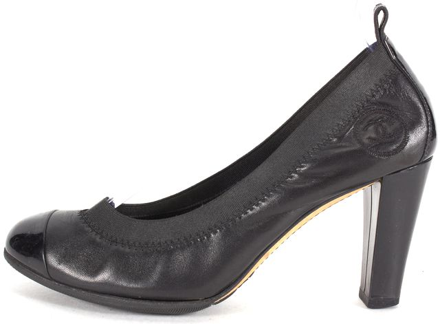 CHANEL Black Leather Elastic Trim Cap-Toe Ballet Heels