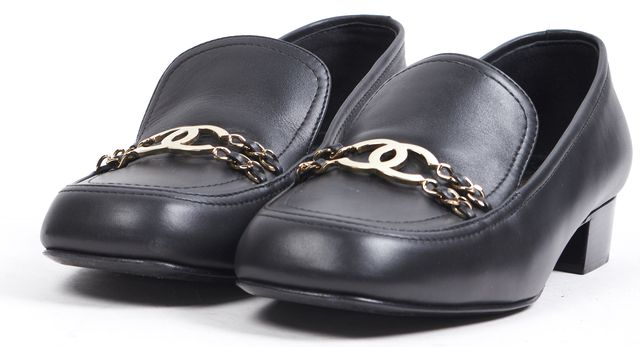 CHANEL Black Leather Loafers CC Chain Embellished
