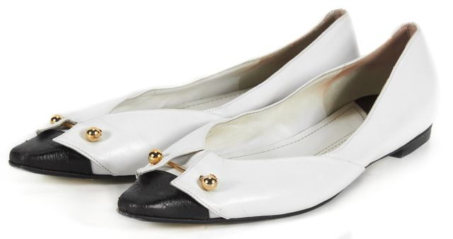 CHANEL White Black Leather Flats