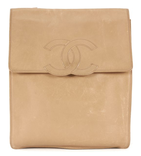 CHANEL Beige Leather Flat Backpack
