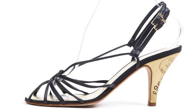 CHANEL Black Leather Gold Heel Multi Strap Caged Sandals