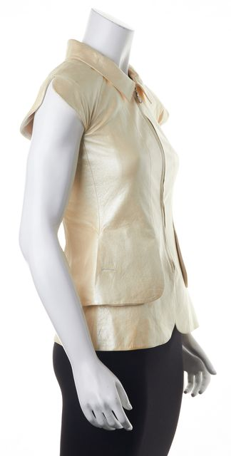 CHANEL Ivory Lamb Leather Zip Up Top