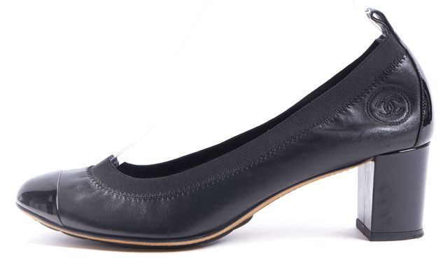 CHANEL Black Leather Patent Cap Toe Elastic Ballet Heels