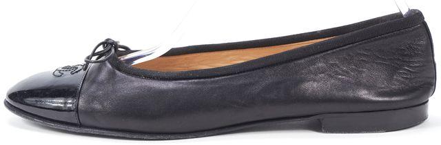 CHANEL Black Leather Patent Cap Toe Ballet Flats