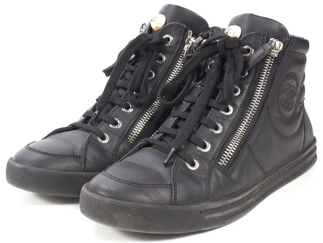 CHANEL Black Leather Double Zipper Lace-Up High Top Sneakers