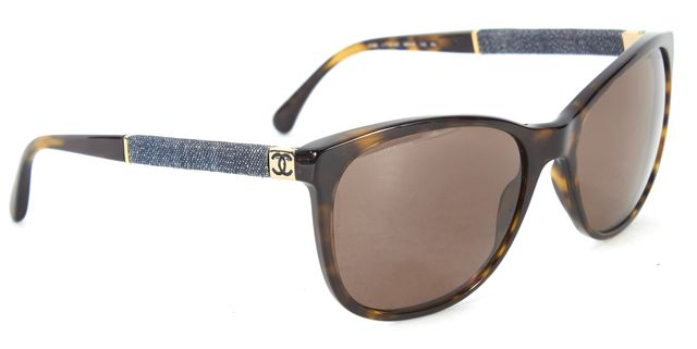CHANEL Brown Tortoiseshell Acetate Denim Trim Square Sunglasses w/ Case