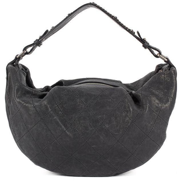 CHANEL Black Outdoor Ligne Diamond Stitched Hobo Bag