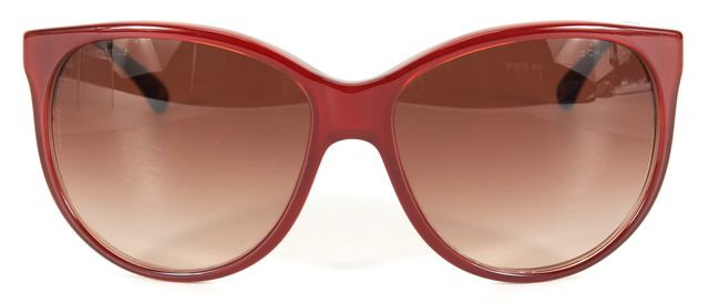 CHANEL Red Acetate Oversized Round Sunglasses w/ Case