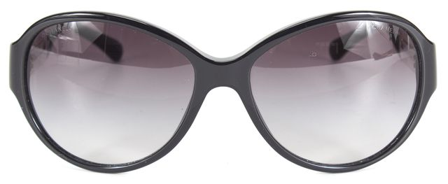 CHANEL Black White Acetate Gradient Lens Oval Sunglasses w/ Case