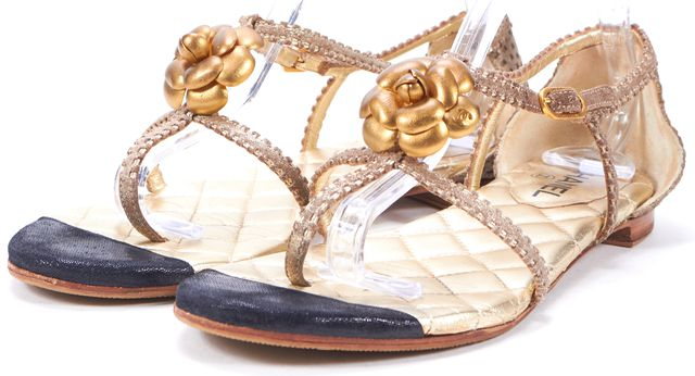 CHANEL Gold Quilted Leather Camellia Sandals US 10 IT 41