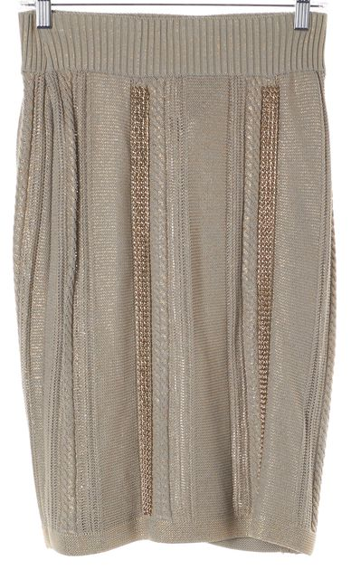 CHANEL Gray Gold Chain Embellished Stretch Knit Skirt