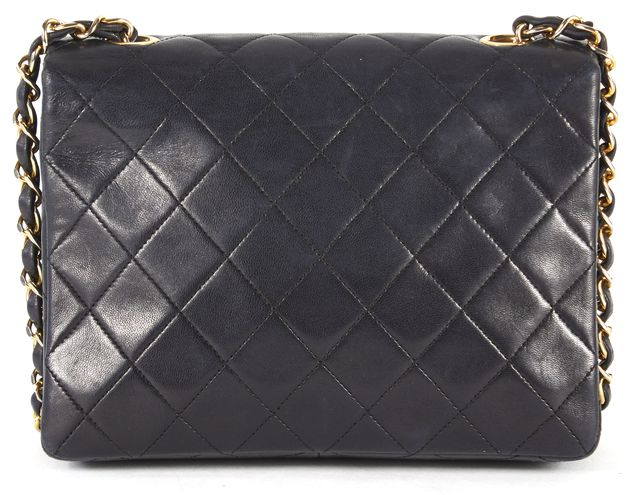 CHANEL Black Quilted Lambskin Chain Strap Mini Square Flap Crossbody