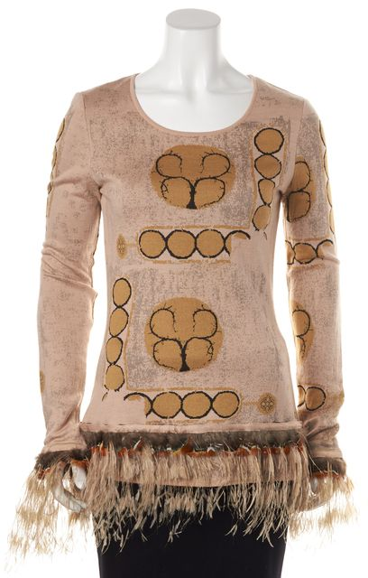 CHANEL Pink Beige Wool Knit Removable Feather Trim Sweater