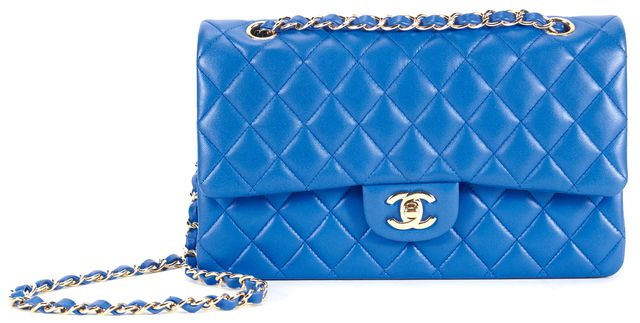 CHANEL Blue Quilted Leather Medium Double Flap Shoulder Bag