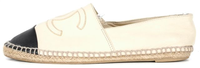 CHANEL Ivory Black Leather Cap Toe CC Logo Espadrille Flats