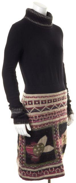 CHANEL '09 Autumn Black Wool Mohair Knit Turtleneck Sweater Dress