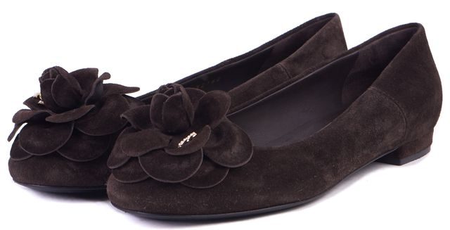 CHANEL Dark Brown Suede Floral Detail Camellia Ballet Flats Size IT 37.5 US 7.5